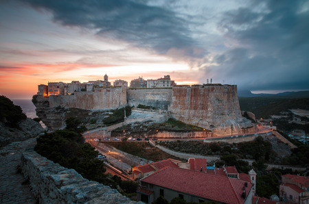 Gathering storm over military cemetery in Bonifacio, Corsica, France