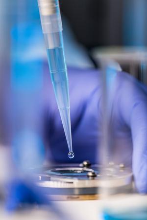 실험실에서 과학적 연구를 수행하는 연구원의 손