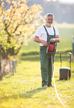 Senior man mowing the lawn in his garden (selective focus; shallow DOF) photo