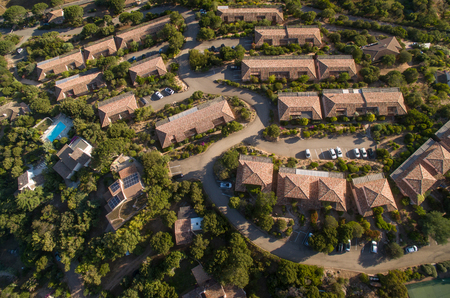 Aerial view of affluent suburban neighborhood