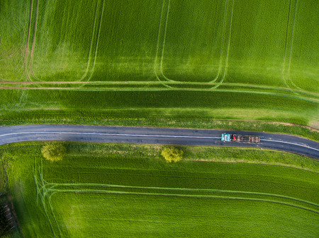 Farmland from above - aerial image of a lush green filed Banco de Imagens