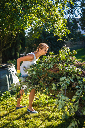Pretty, young woman gardening in her garden, cutting branches, preparing the orchard for the winter Standard-Bild