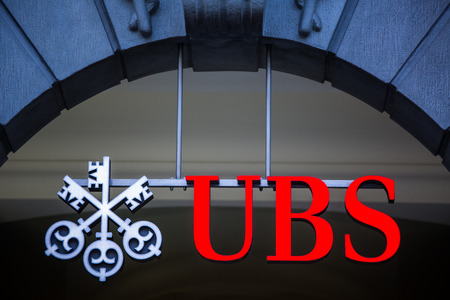 ZURICH, SWITZERLAND, 27 March 2014: UBS, Switzerlands largest bank.