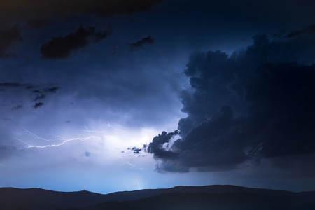 High Mountains Electric Storm Scenery. Stormy and Dangerous Mountain Trail Stock Photo - 93896300