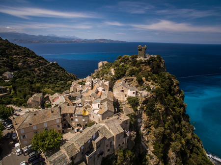 Aerial view of the beautiful village of Nonza, in Cap Corse, Corsica, France