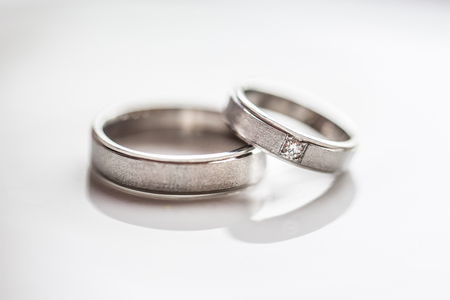 Two splendid wedding rings on a wedding day.