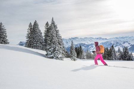Pretty, young woman snowshoeing in high mountains, enjoying splendid winter weather with abundance of snow