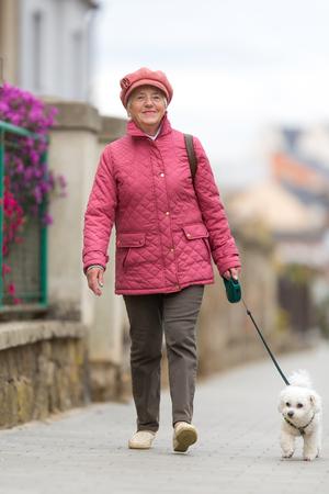Hogere vrouw die haar kleine hond op een stadsstraat loopt; er gelukkig en ontspannen uitzien (ondiepe DOF)