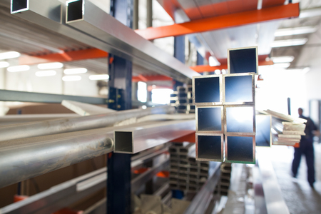 Aluminium products in a hall of industrial factory