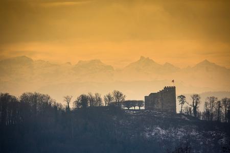 Habsburg Castle located in the Aargau, Switzerland Stock Photo