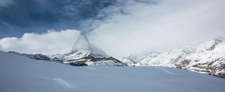 Amazing winter panorama of Matterhorn , Switzerland