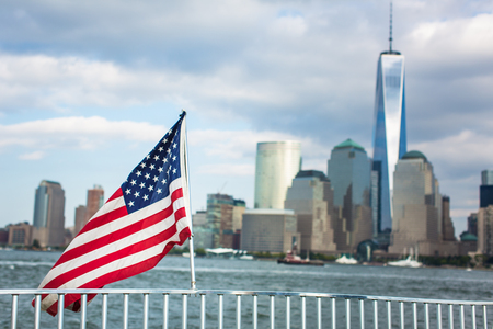 American flag with New York City background