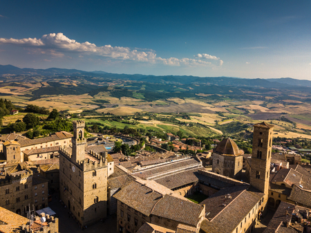 Spectacular aerial view of the old town of Volterra in Tuscany, Italy Stock Photo