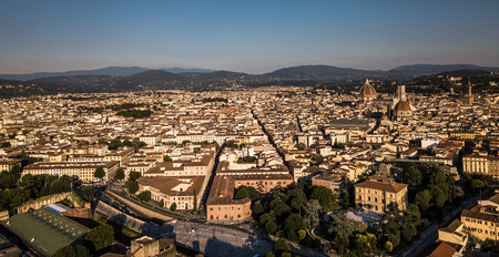 Beautiful Florence sunset city skyline with Florence Duomo Panorama of Florence, Italy