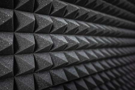 Foam soundproofing coating close-up. Recording studio details Stock Photo