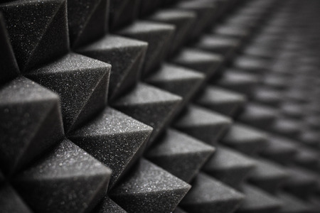 Foam soundproofing coating close-up. Recording studio details Banco de Imagens