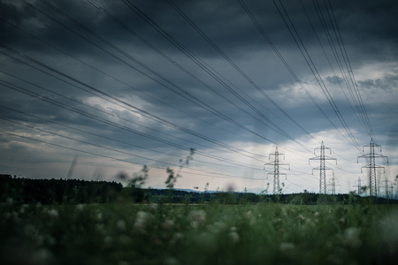 High-voltage power lines. electricity distribution station . high voltage electric transmission tower in landscape Banque d'images - 115347217