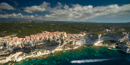 Aerial view of the Old Town of Bonifacio, the limestone cliff, South Coast of Corsica Island, France