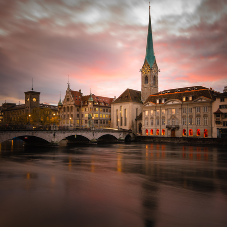 Zurich, Switzerland - view of the old town with the Limmat river