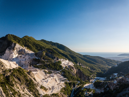 Colonnata village and Carrara mountains. Massa-Carrara Tuscany Italy Stock Photo