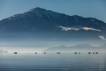 Mount Rigi seen from Zug with over the Zugersee, Switzerland