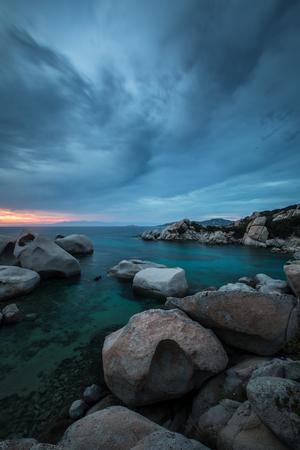 Scenic Sardinia island landscape. Italy sea coast with azure clear water. Nature background - long exposure image