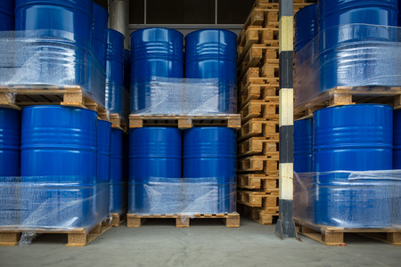 Toxic wastechemicals stored in barrels at a plant - cans with chemicals, industry oil barrels, chemical tank, hazardous waste, chemical reagents, ecological concept