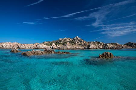 Scenic Sardinia island landscape. Italy sea coast with azure clear water. Nature background