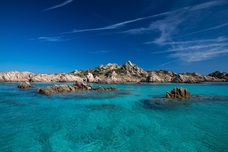Scenic Sardinia island landscape. Italy sea ​​coast with azure clear water. Nature background