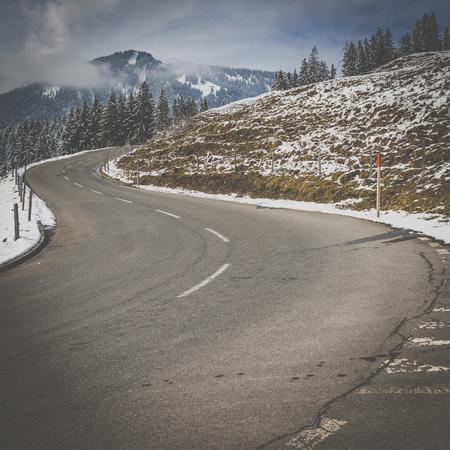 Beautiful mountain road in Swiss Alps, canton of Obwalden, Switzerland, Europe