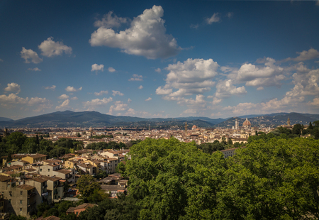 Beautiful Florence city skyline with Florence Duomo. Panorama of Florence, Italy