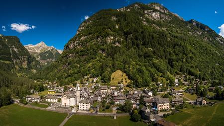 The Village of Sonogno in Verzasca Valley near Locarno,Ticino Canton,Switzerland - aerial panorama image
