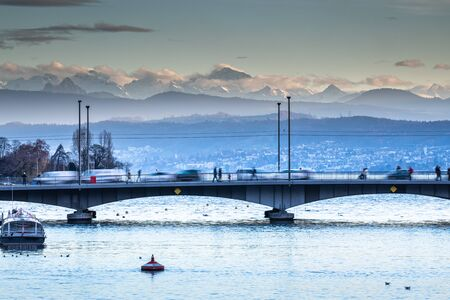 Zurich, Switzerland - view of the Limmat river with its busy bridges