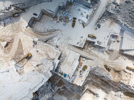 High stone mountain and marble quarries in the Apennines in Tuscany,  Carrara Italy. Open marble mining.