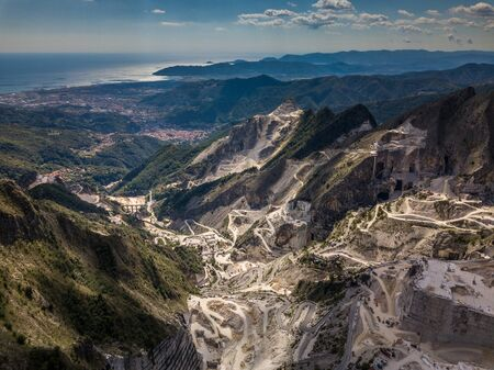 Carrara mountains. quarry - the place where Michealangelo sourced the marble for David,  Massa-Carrara Tuscany Italy - high resolution panoramic image Stock fotó