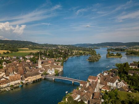 Aerial view of Stein-Am-Rhein medieval city near Shaffhausen, Switzerland 免版税图像