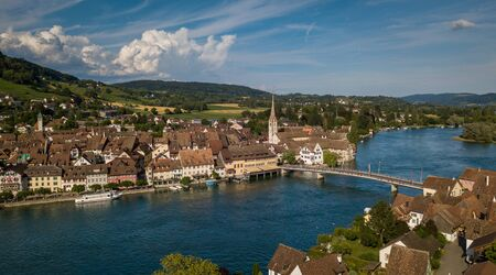 Aerial view of Stein-Am-Rhein medieval city near Shaffhausen, Switzerland Standard-Bild