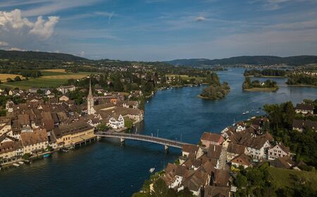Aerial view of Stein-Am-Rhein medieval city near Shaffhausen, Switzerland Stockfoto - 128059431