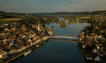 Aerial view of Stein-Am-Rhein medieval city near Shaffhausen, Switzerland Stock Photo