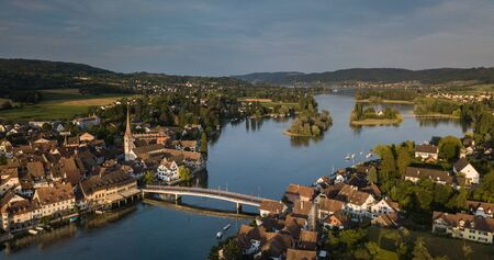Aerial view of Stein-Am-Rhein medieval city near Shaffhausen, Switzerland Stockfoto - 128059636