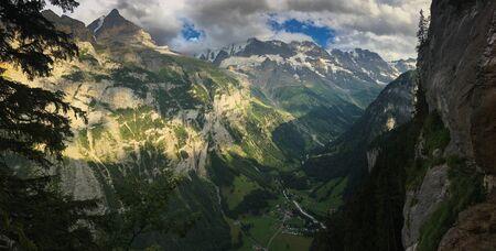 Panorama of Lauterbrunnen valley in the Bernese Alps, Switzerland. Stock Photo