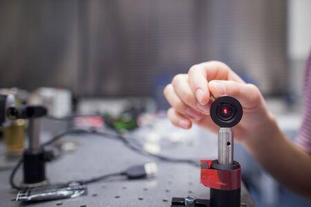 Equipment in a quantum optics lab (color toned image)