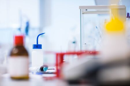 Chemistry lab (shallow DOF; color toned image)