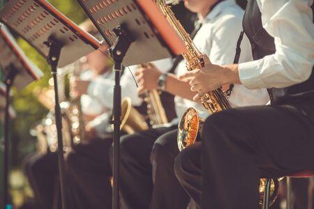 Jazz musicians playing the saxophone - Beautiful music / Jazz mood Concept Stock Photo