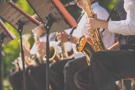 Jazz musicians playing the saxophone - Beautiful music / Jazz mood Concept Stockfoto