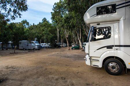 Motorhomes at campsite