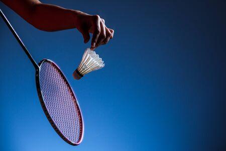 badminton racket and shuttlecock closeup