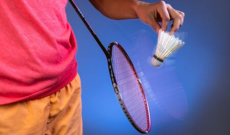 badminton racket and shuttlecock closeup Stok Fotoğraf