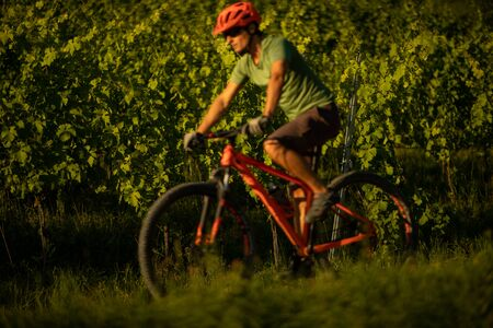 Handsome young man biking on a mountain bike enjoying healthy active lifestyle outdoors in summer (shallow DOF)