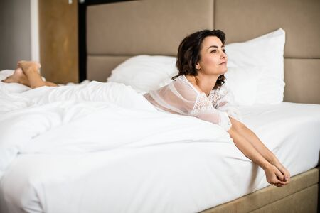 Pretty, young woman in her bed, fast asleep. Importance of sleep concept Stok Fotoğraf - 137884644